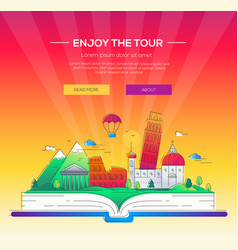 Enjoy the tour - line travel vector