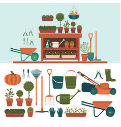 collection of tools for gardening vector image