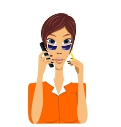 Cartoon secretary talking on phone vector