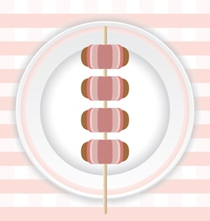 Grilled bacon wrapped sausages vector