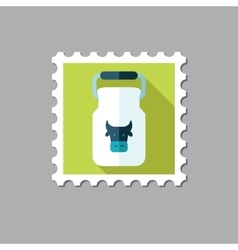 Can container for milk flat stamp vector