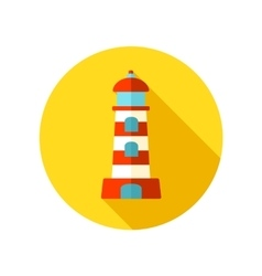 Lighthouse flat icon with long shadow vector