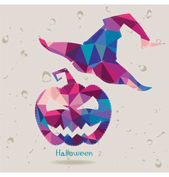 Halloween pumpkin with tall witch hat vector