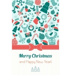 Vintage vertical christmas card typography flat vector