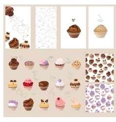 Detailed set with different muffins vector image