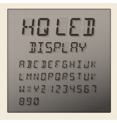 Led digital alphabet and numbers display vector
