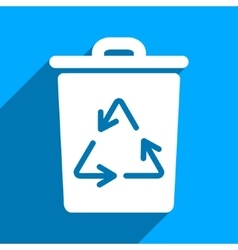 Trash can flat square icon with long shadow vector