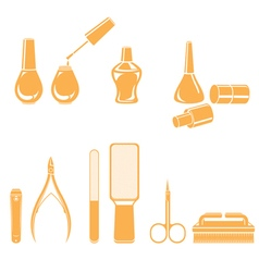 Manicure and pedicure equipments set monochrome vector
