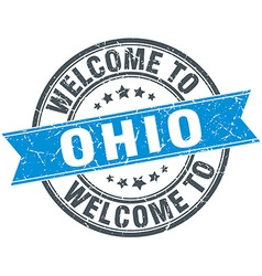 Welcome to ohio blue round vintage stamp vector