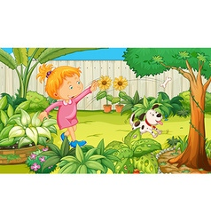 Girl playing with dog in the garden vector