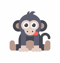 Baby monkey sitting on the floor and dticking out vector