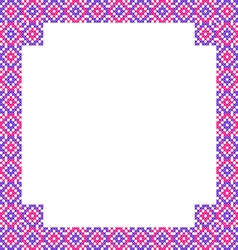 Frame with pink and violet patterns on canvas vector
