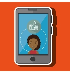 Girl and smartphone isolated icon design vector