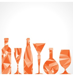 Abstract triangle wine bottles and glass vector image