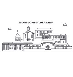 alabama montgomery architecture line skyline vector image vector image