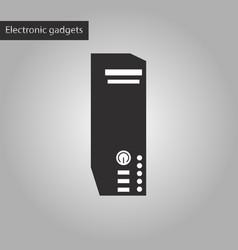 black and white style icon computer processor vector image