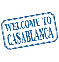 Casablanca - welcome blue vintage isolated label vector