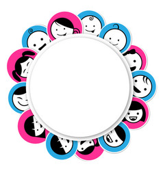 Circle banner with kids icon vector