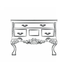 Classic table furniture with royal ornaments vector image vector image