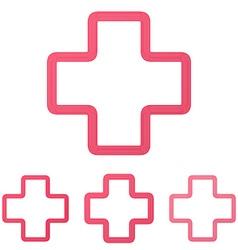 Crimson line plus logo design set vector