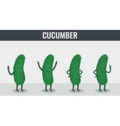 Cucumber Funny cartoon vegetables Organic food vector image