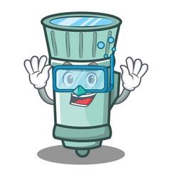 Diving flashlight cartoon character style vector
