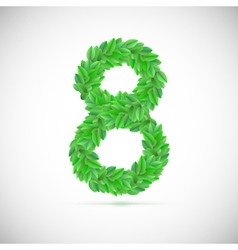 Figure eight made up of green leaves vector image vector image