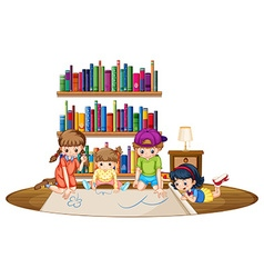 Four kids drawing picture in the room vector