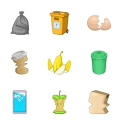 Garbage sorting concept icons set cartoon style vector image