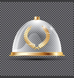 Gold laurel wreath on podium below glass dome vector