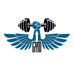 Gym weightlifting and fitness sport club logo vector