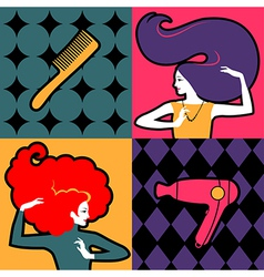 hair girls vector image vector image