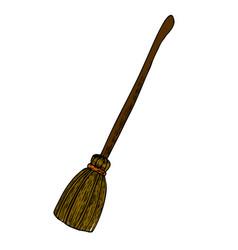 halloween witch broom vector image