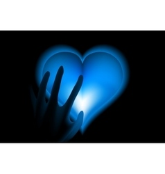 Hand in heat from blue heart cold vector