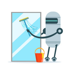 Housemaid robot character cleaning glass window vector