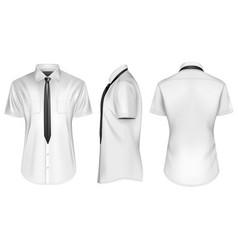 Mens short sleeve button down vector