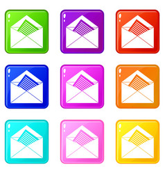 Open envelope with sheet of paper icons 9 set vector