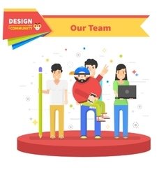 Our success team linear flat design vector