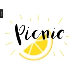 Picnic calligraphic lettering and a slice of lemon vector