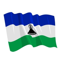 Political waving flag of lesotho vector