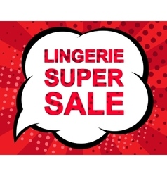 Sale poster with lingerie super sale text vector