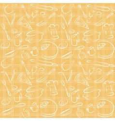 seamless kitchen orange pattern vector image vector image