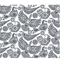 seamless pattern with ethnic ornate birds vector image vector image