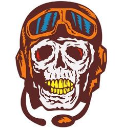 Skull Face Pilot Airman vector image vector image
