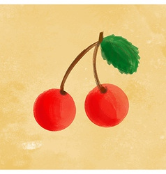 Watercolor cherry vector image vector image