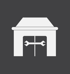 White icon on black background service station vector
