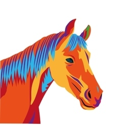 Colorful horse drawing icon vector