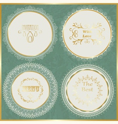 Lacy napkins with golden frame vector