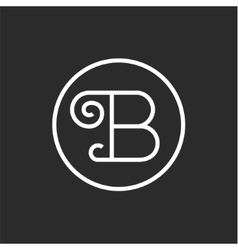 Sign vintage of the letter B in a straight line vector image