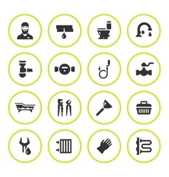 Set round icons of plumbing vector image